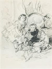 enfant jouant avec des chats by victor-jean adam