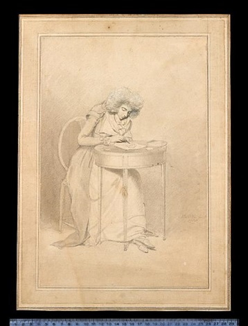 sarah siddons née kemble seated at table drawing she wears jacket with layered short sleeves and lapels over dress fichu ruffle and curled wig by samuel de wilde