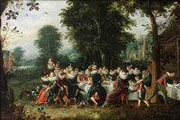elegant figures seated at a banquet table in a wooded clearing by david vinckboons