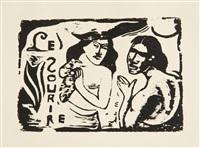 te faruru (fragment supérieur droit); titres pour le sourire; personnages comiques - gaspard et sa femme (set of 6) by paul gauguin