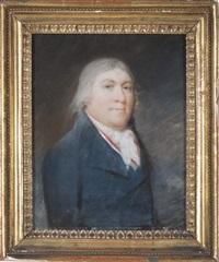 portrait of a gentleman in blue waistcoat by james sharples