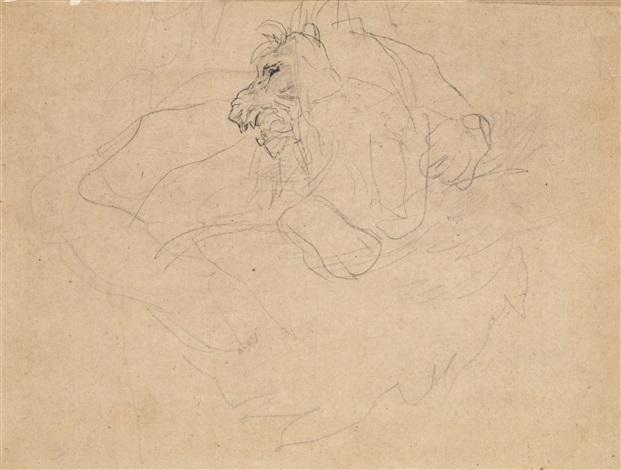 studie eines löwen (study) by théodore géricault