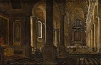 interior de iglesia con figuras by wilhelm schubert van ehrenberg