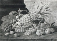 still life of fruit in a basket by james (sillet) sillett