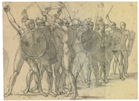recto: nude soldiers gesticulating with their weapons; verso: two drapery studies for the figure of tatius by jacques-louis david