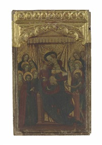 the madonna and child enthroned, with saint john the baptist and other saints by valencia