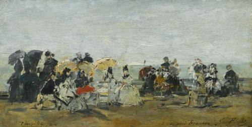 scène de plage à trouville by eugène boudin