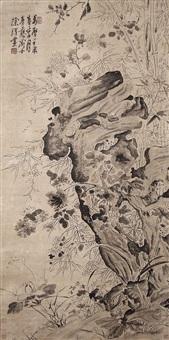 花卉戲墨圖 xu wei ming dynasty ink flowers and rock by xu wei