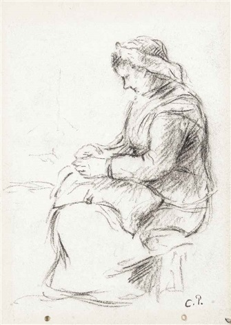 femme raccommodant by camille pissarro