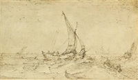 fishing boats in a rough sea by cornelis claesz van wieringen