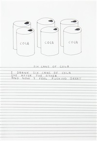 untitled (six cans of cola)(together with a greetings card on which the work is illustrated) by david shrigley