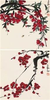 花卉草虫 (两件) (2 works) by qi liangsi