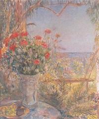 florero y frutas sobre una mesa con paisaje al fondo by ángeles santos