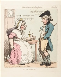 matrimonial comforts (after woodward) (set of 8) by thomas rowlandson
