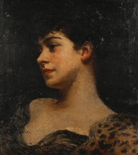 bust portrait of judy fox - a bacchante by james carroll beckwith