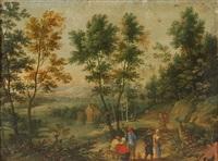 personnages dans un paysage fluvial avec château by lucas van uden