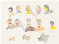 thirteen human and animal faces by harold qaqliqsaq
