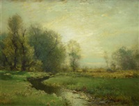 stream in a meadow by arthur parton