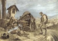 rastende zigeunerfamilie am wegesrand by johann gualbert raffalt