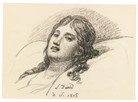 study of a woman resting her head by jacques-louis david