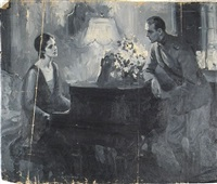 woman at piano speaking to soldier by walter g. ratterman