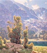 lake and mountain scene by dennis doheny