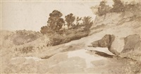 a rocky landscape with trees on the horizon by sir anthony van dyck