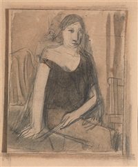 figura femminile seduta by mario sironi