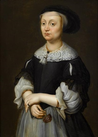 portrait of a lady holding carnation three quarter length by dutch school zeeland 17