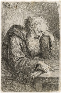 a capuchin monk reading a book by ferdinand bol
