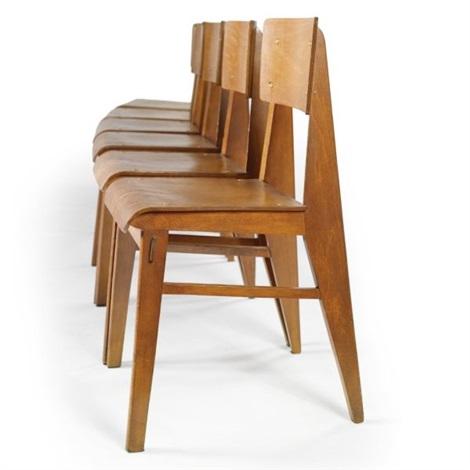 chaise tout bois set of 6 par jean prouvé sur artnet - Chaise Jean Prouve Prix