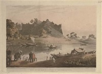 the governor-general's budgerow on the approach to colna, bengal (+ 2 others; 3 works) by hubert cornish