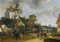 a village kermesse with numerous figures and market stalls by salomon rombouts