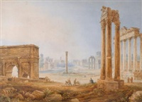 view of the forum with the arch of septimus severus by henri lévêque