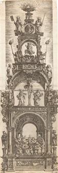 großer altaraufsatz mit der anbetung, der kreuzigung und der auferstehung, gekrönt von den aposteln petrus und paulus by daniel hopfer