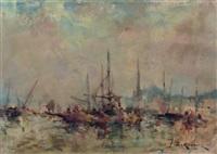 vue du port de constantinople by jean etienne karnec