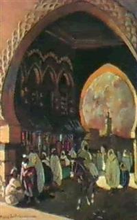 scene marocaine sous la porte by pierre jaillet