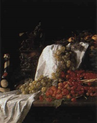 still life with fruits and a bottle of liqueur by eilert mehl