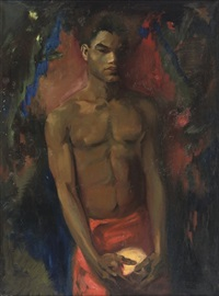 young north african man posing by gérardus hendrik grauss