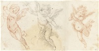 three studies of flying putti (on 2 sheets) by fabrizio boschi