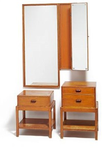 two-part folding mirror with two chests of drawers by rigmor andersen