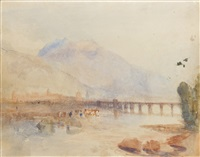 looking down the val d'aosta towards aosta and the pont suza by joseph mallord william turner