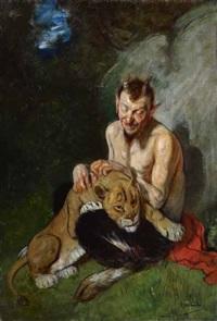 faun und löwin by adolf oberlander