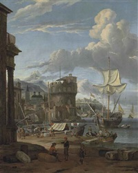 a mediterranean harbour with figures unloading ships and others conversing, a town with a fortress and a church beyond by abraham jansz storck