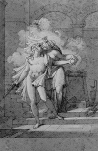 a nude holding a sword and kissing a woman, in front of a burning altar by armand charles caraffe