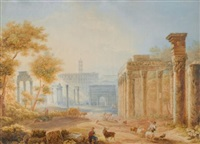 view of the forum, rome by henri lévêque
