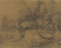 a stream in a wooded landscape by thomas gainsborough
