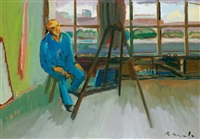 selbstbildnis im atelier (basel) (self-portrait in the studio - basel) by karl aegerter