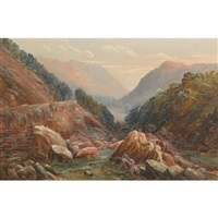 looking down the lledr valley from pont-y-pant near bettws-y-coed by thomas finchett