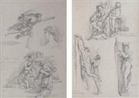la donation de constantin et l'incendie du bourg de raphaël (study) (+ héliodore chassé du temple de raphaël (study); 2 works) by jean-robert ango